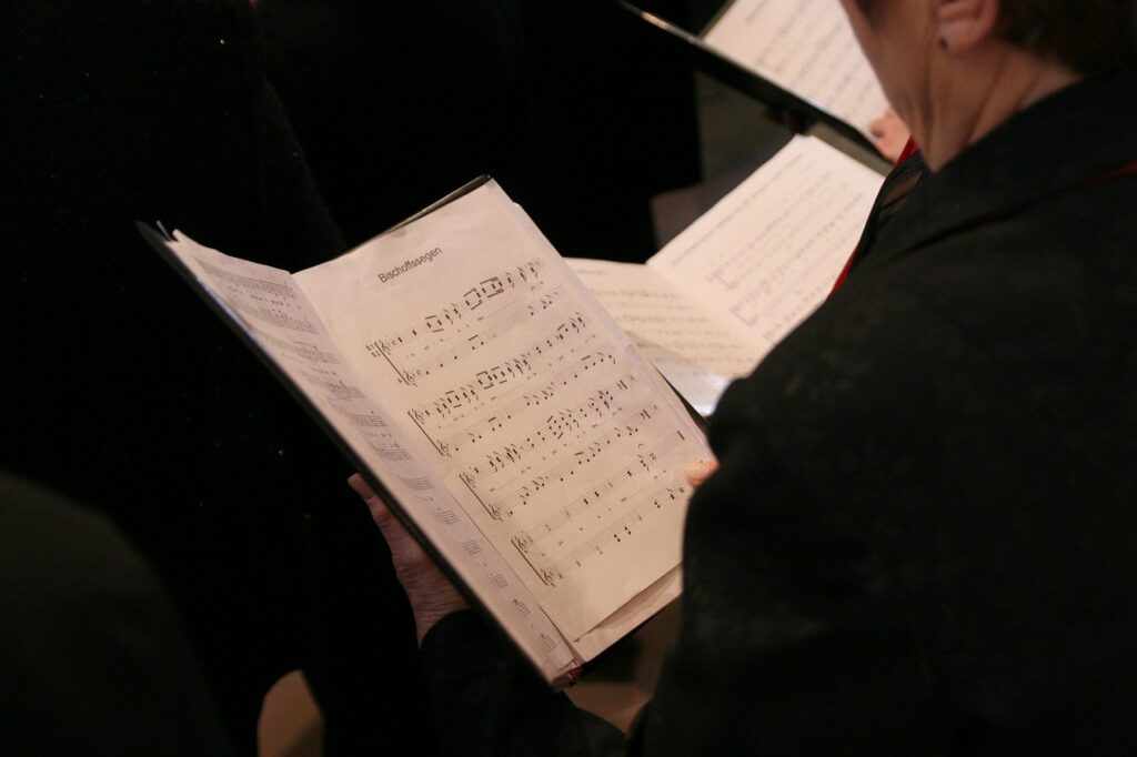 choir, singing, song book